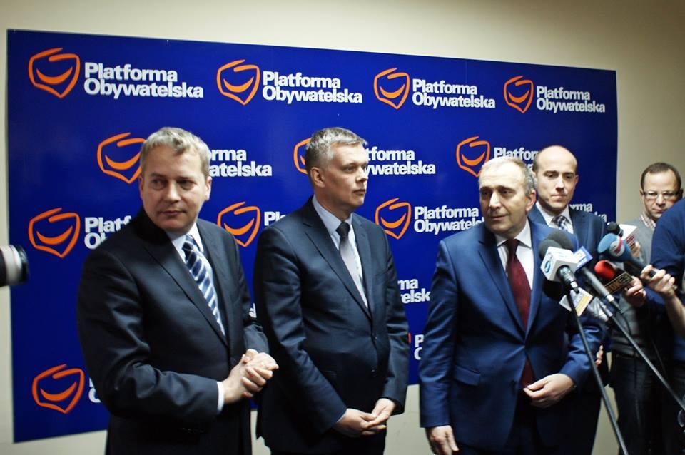 Konferencja z udziałem Grzegorza Schetyny, Wojciecha Saługi i Tomasza Siemoniaka.