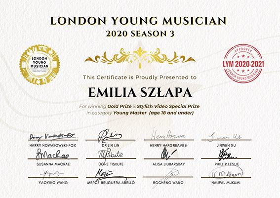 Dyplom londyńskiego konkursu dla młodych muzyków